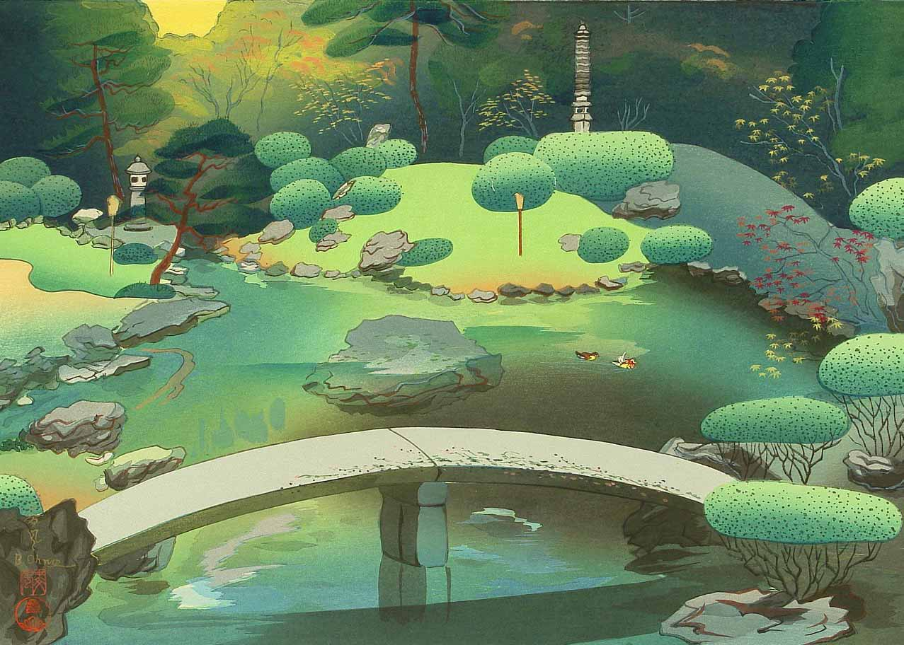 © Ono Bakufu, Shoren-in Temple Garden, 1950s Woodblock Print