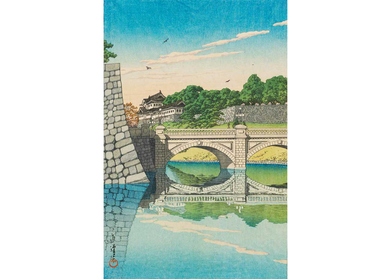 © Kawase Hasui, Nijo Bridge, 1930 Woodblock Print, from the  Museum of Fine Arts, Boston .