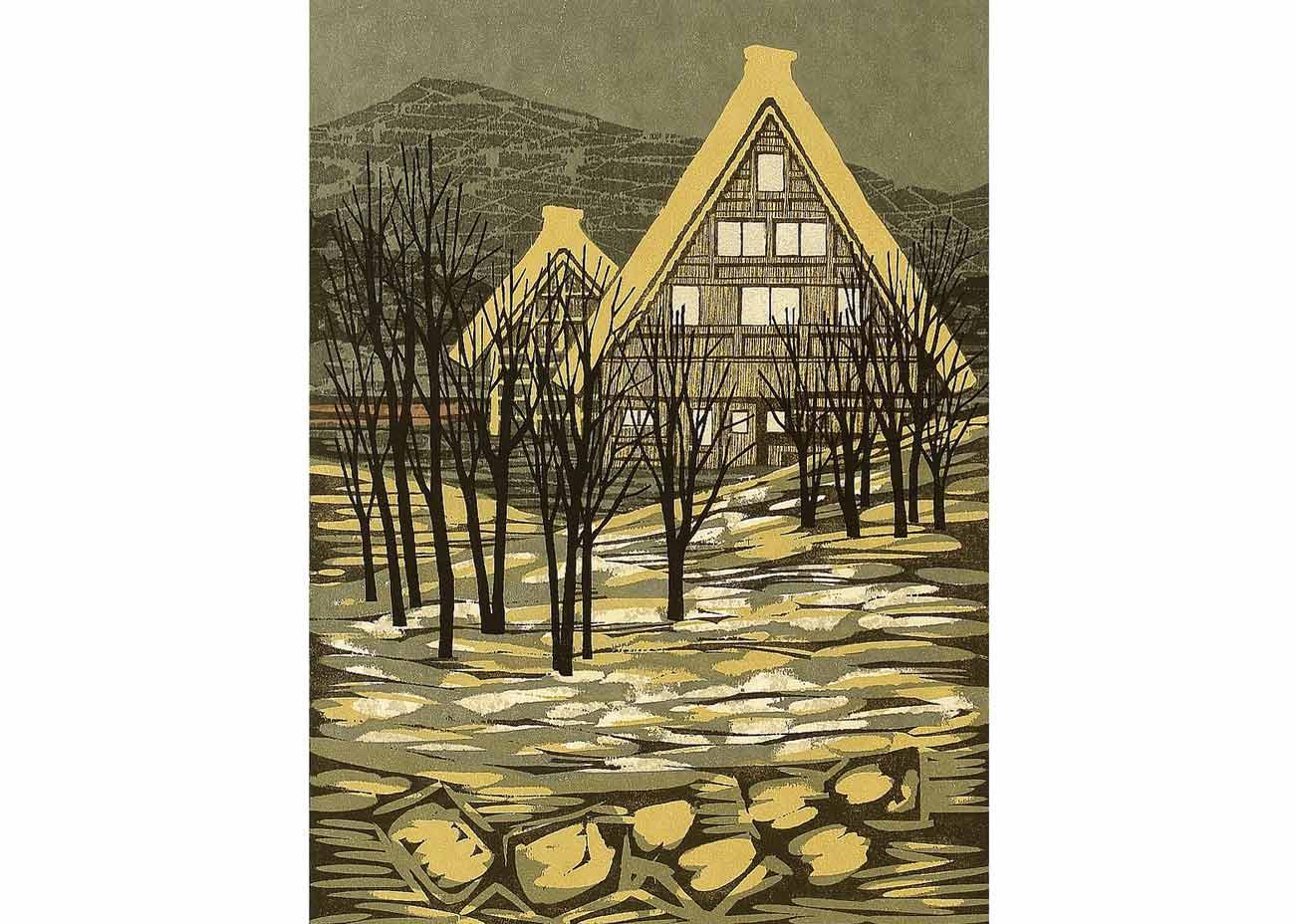© Fumio Fujita, Silent Village in Hida, 1973 Woodblock Print