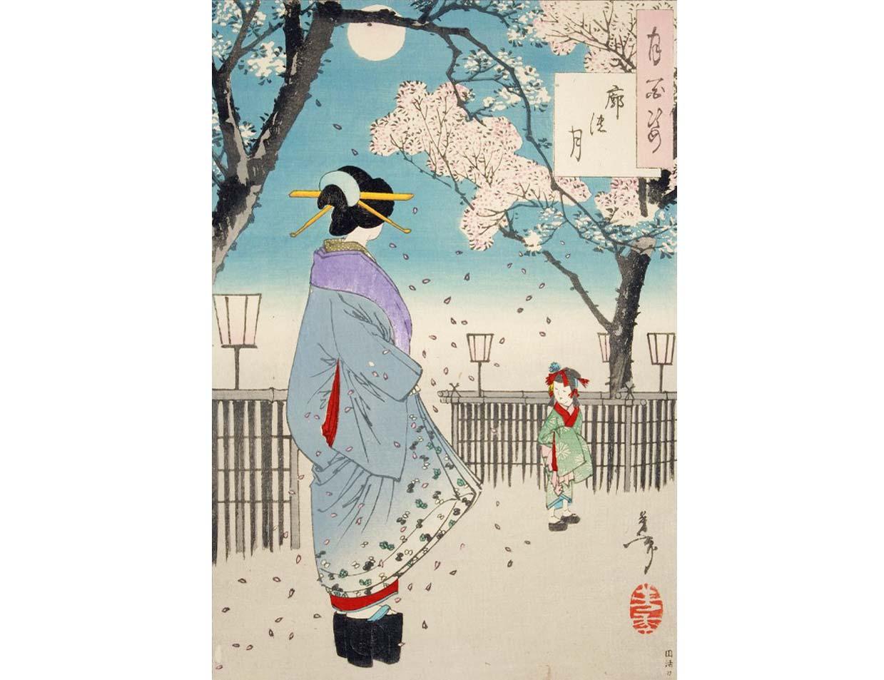 Moon of the Pleasure Quarter, Woodblock Print by Tsukioka Yoshitoshi, 1886