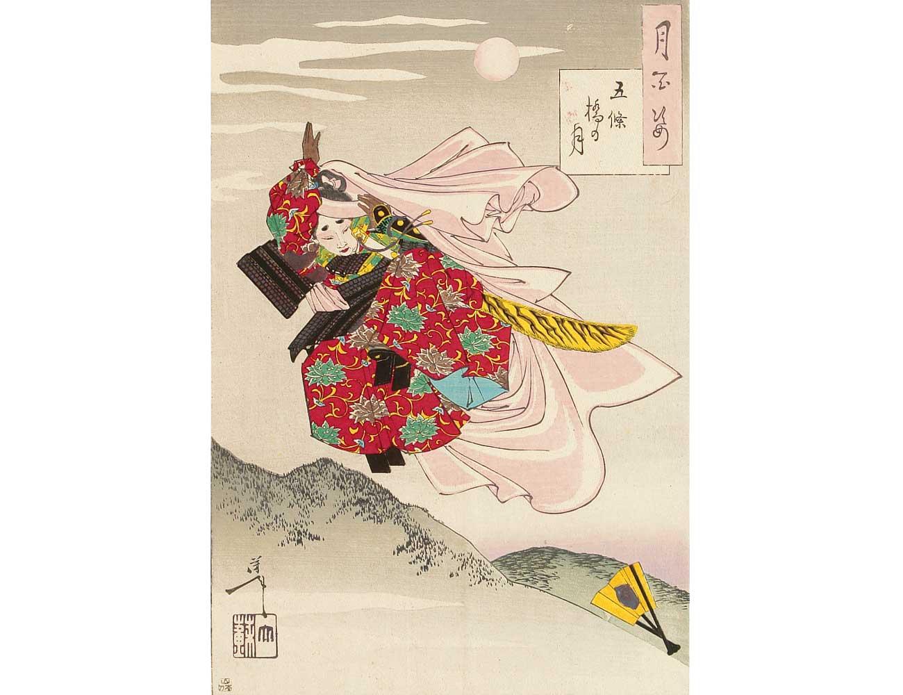 Moon over Gojo Bridge, Woodblock Print by Tsukioka Yoshitoshi, 1888