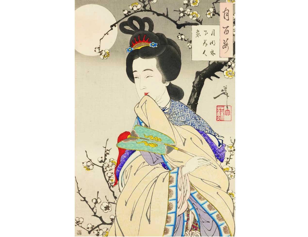 Spirit of the Plum Tree, Woodblock Print by Tsukioka Yoshitoshi , 1888