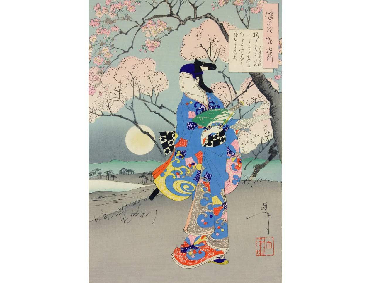 Actor and Cherry Tree, Woodblock Print by Tsukioka Yoshitoshi, 1891