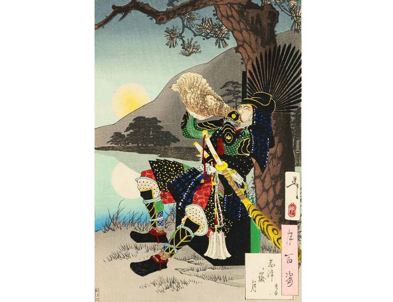 The Moon at Shizugatake, Woodblock Print by Tsukioka Yoshitoshi, 1888 by Tsukioka Yoshitoshi