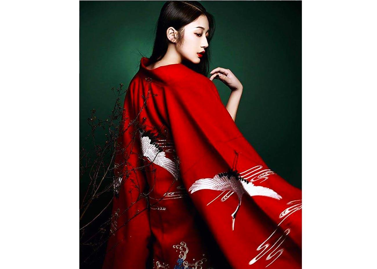Embroidered Red Kimono