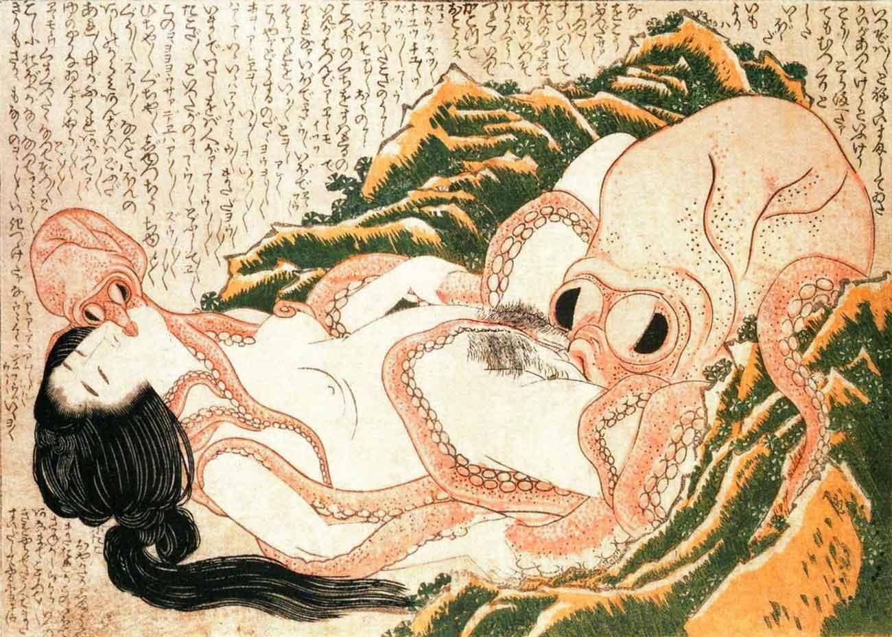 The Dream of the Fisherman's Wife, Shunga Woodblock Print by Katsushika Hokusai, 1814