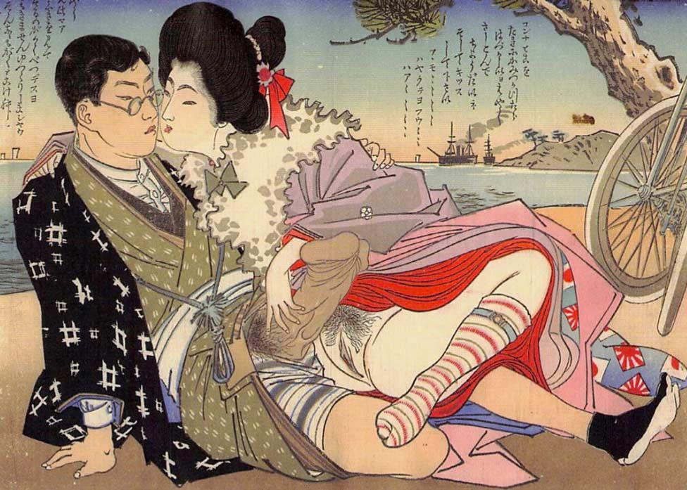 Untitled Shunga Woodblock Print, Cycling for Pleasure
