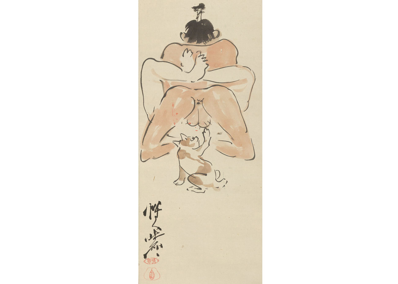 Shunga Woodblock Print by Kawanabe Kyosai, 1870s