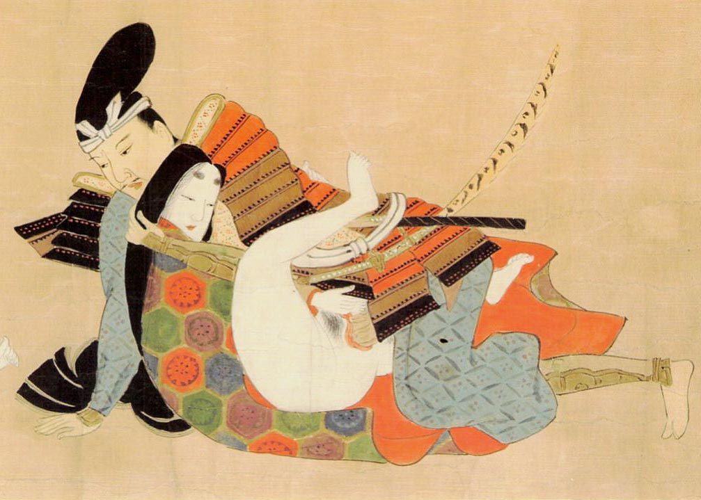 Untitled Shunga Woodblock Print, In Full Armor