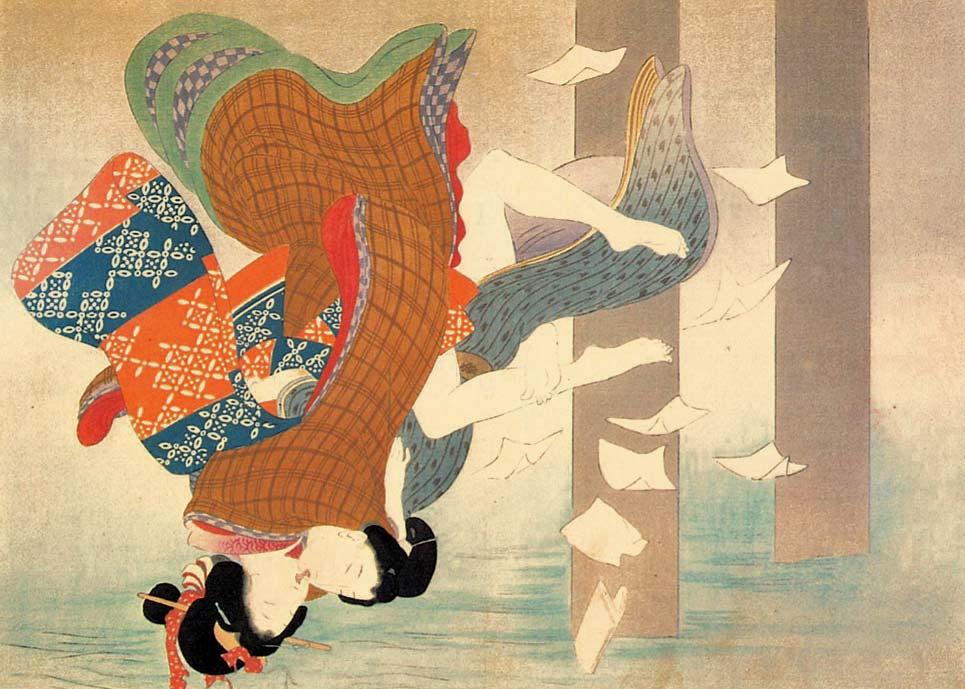 Lovers' Suicide, Shunga Woodblock Print by Keishu Takeuchi, 1900s