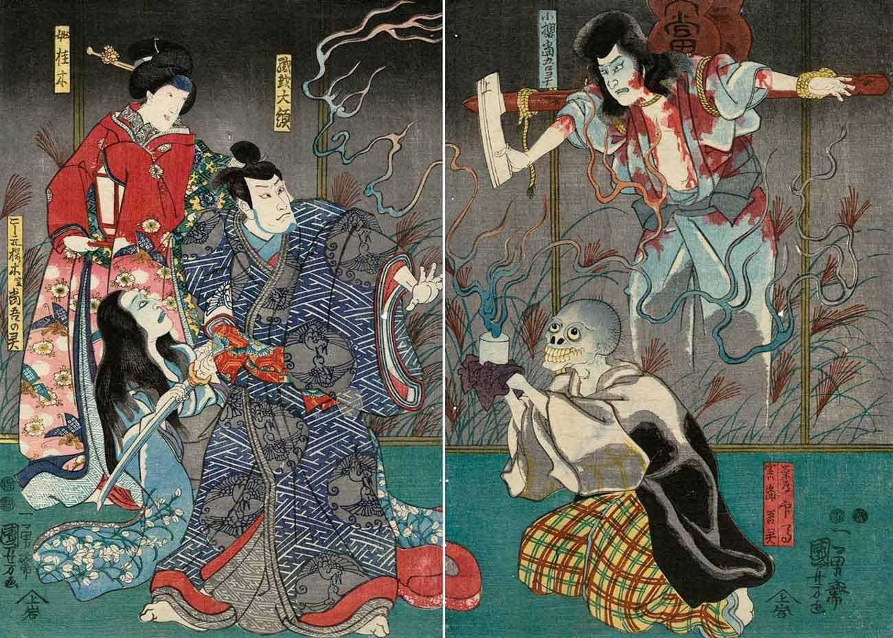 The Ghost of Asakura Togo, Woodblock Print by Utagawa Kuniyoshi