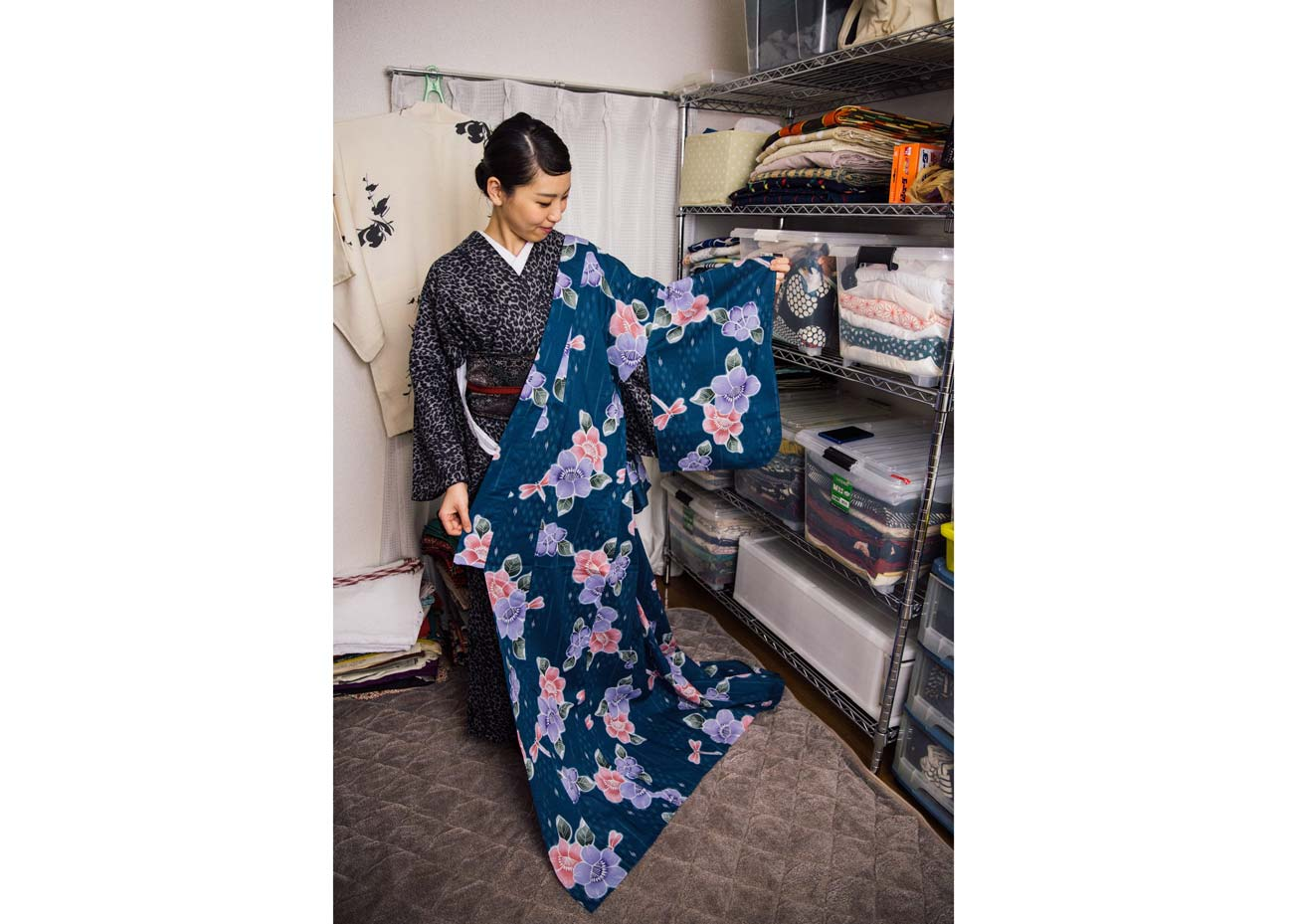 © Todd Fong, Kimono Closet. Makoto with a kimono that she made herself. She tries to wear it at least once a year.