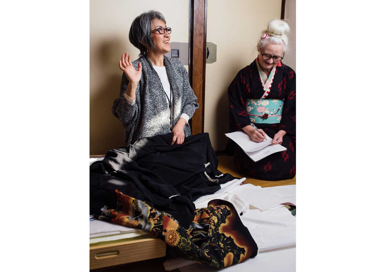 """© Todd Fong, Kimono Closet. Mitsuyo: """"If you go to an event with those Japanese Culture people you have to be very careful about what kimono you wear because their judgment is severe""""."""