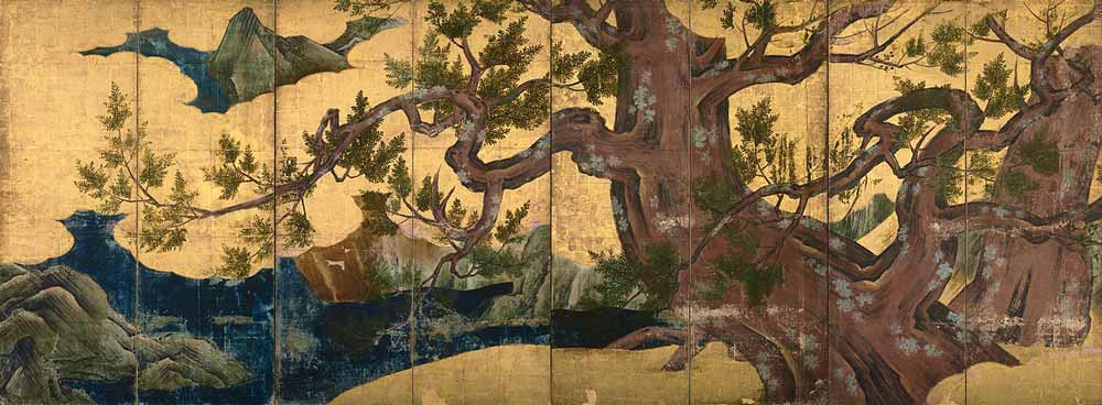Painting of a Cypress by Kano Eitoku, 16th Century, Tokyo National Museum