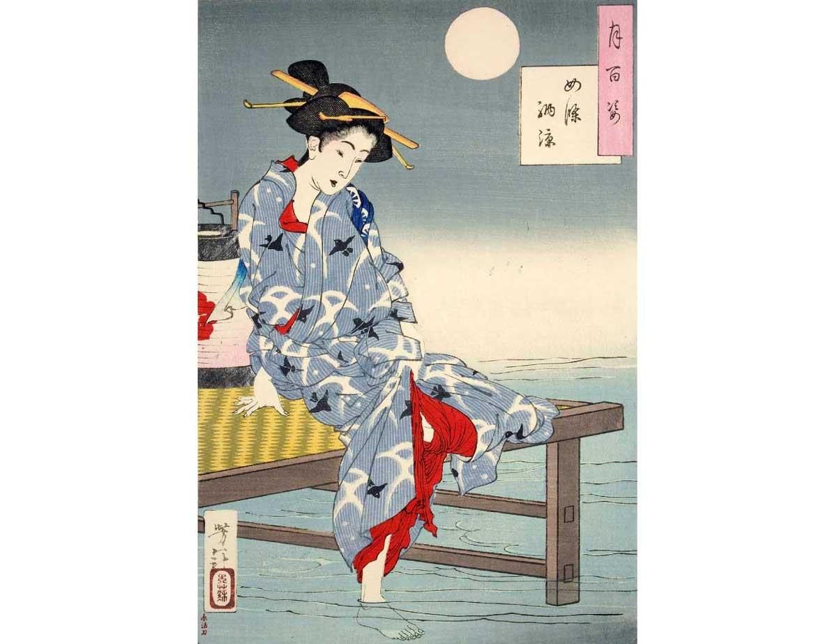 Cooling off at Shijo, Woodblock Print by Tsukioka Yoshitoshi, 1885