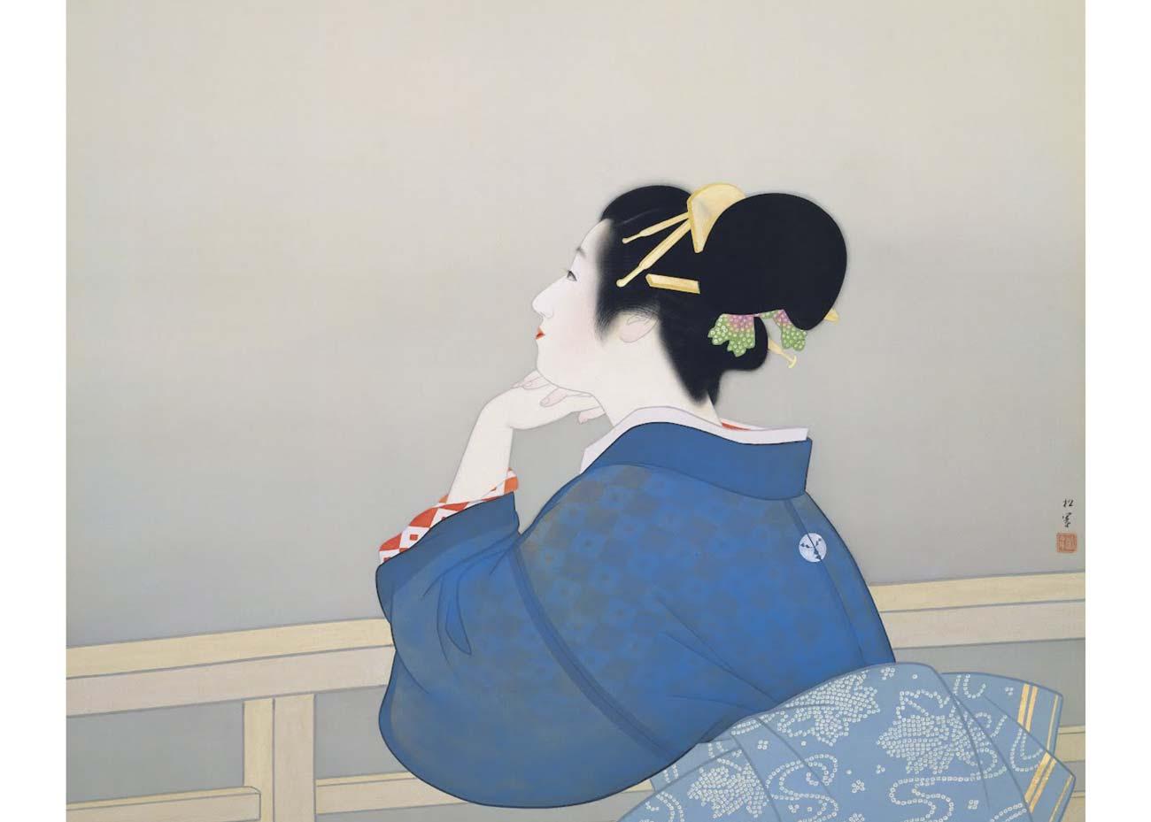 © Uemura Shoen, Woman Waiting for the Moon to Rise, Nihonga Painting, 1944, Adachi Museum of Art
