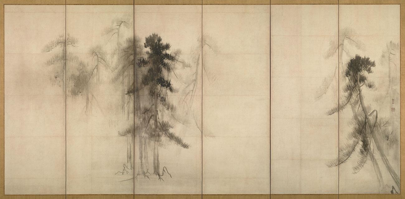 Pine Trees, Silk Screen Painting by Hasegawa Tohaku