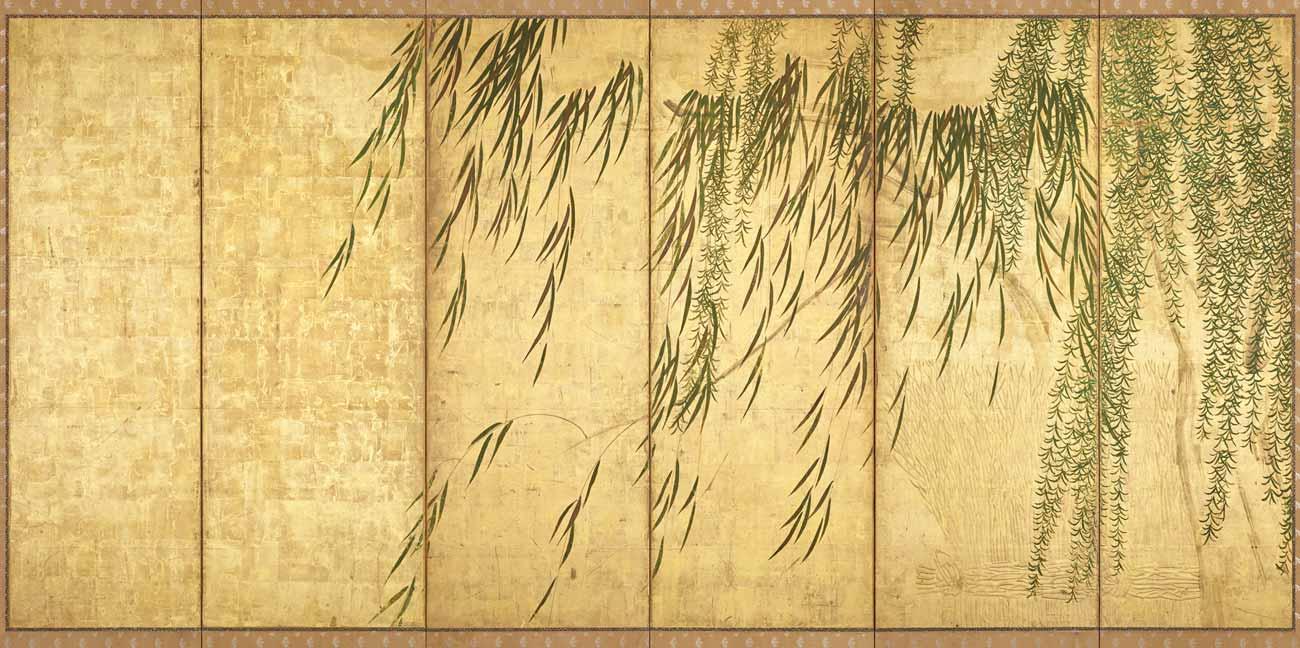 Willows in Four Seasons, Paper Screen by Hasegawa Tohaku