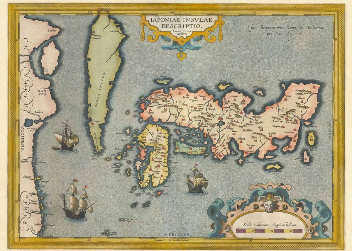 Map of the Islands of Japan, Abraham Ortelius, 1595, Jason C. Hubbard Collection