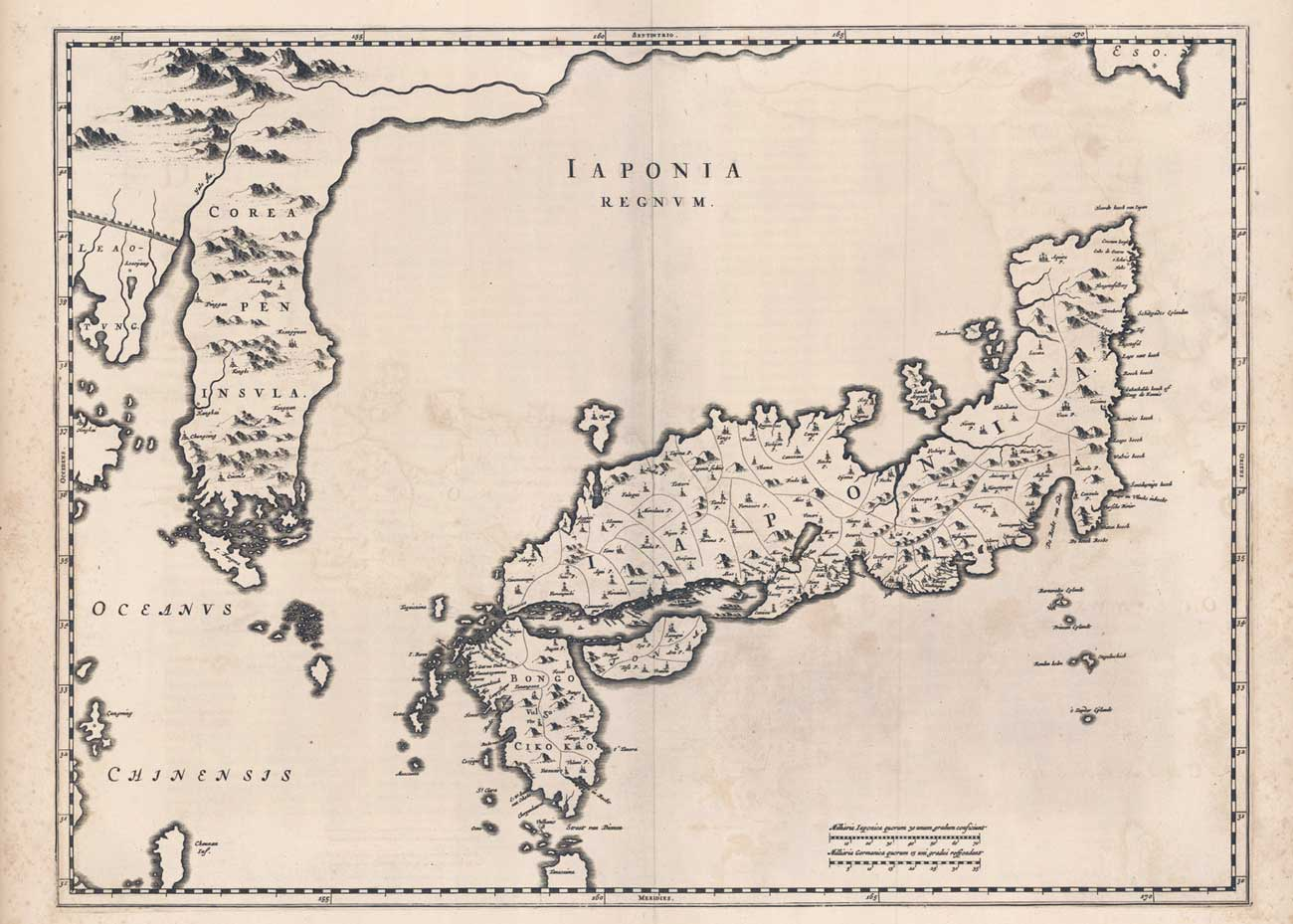 Map of Japan from the Atlas Sinensis, Joan Blaeu, 1655, Jason C. Hubbard Collection