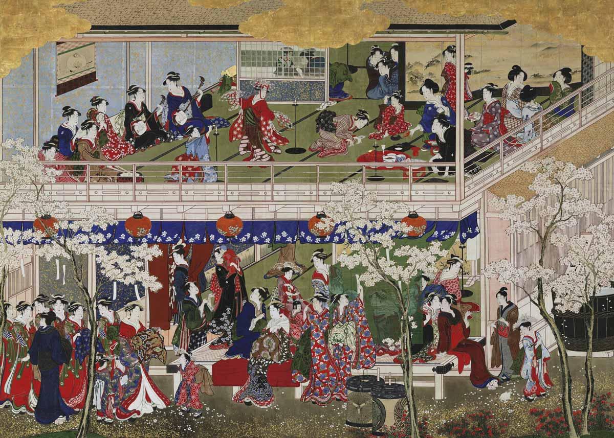 Cherry Blossom Viewing, Scroll Painting by Kitagawa Utamaro, 1793