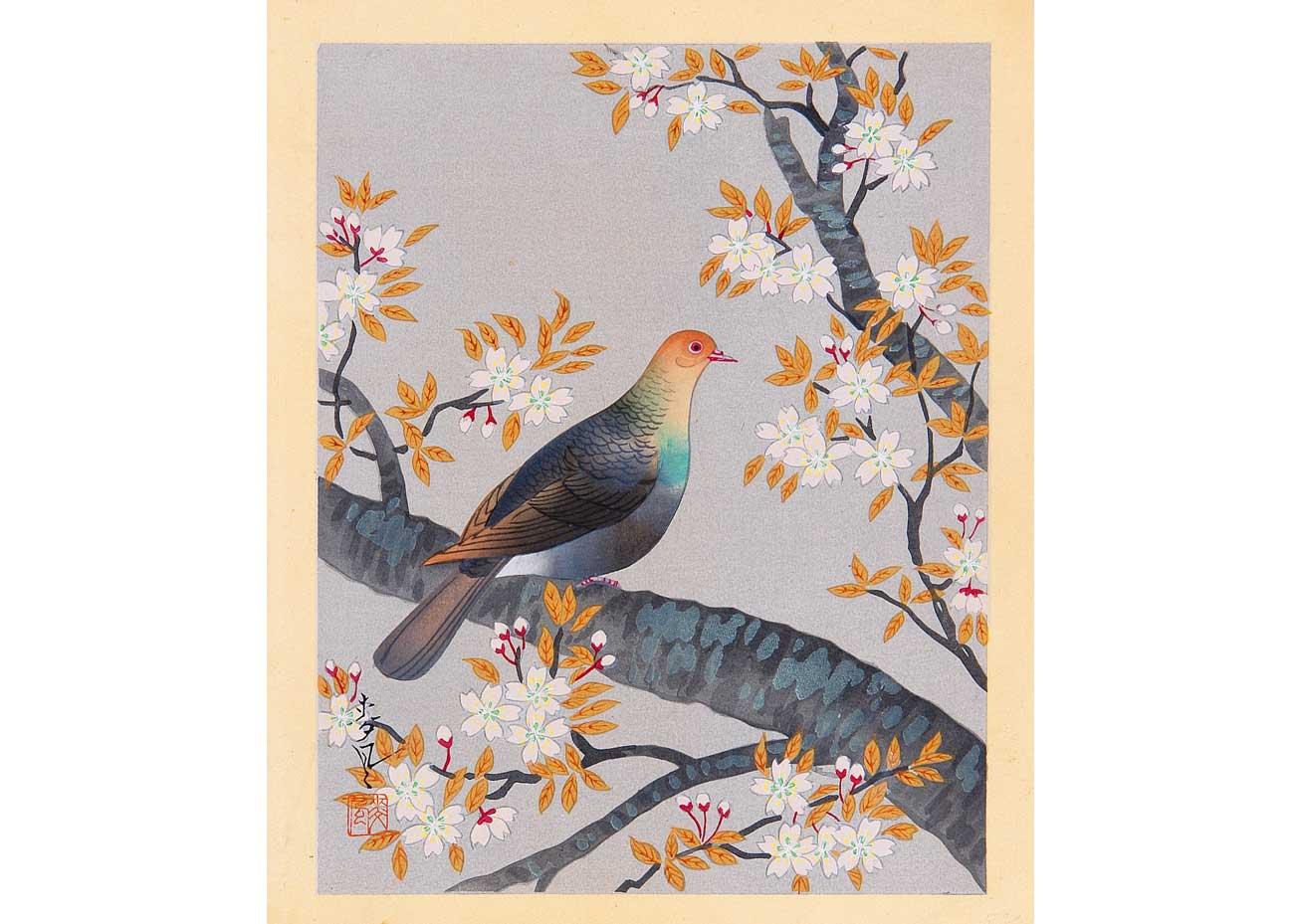 © Bakufu Ono, Turtle Dove and Cherry, 1950