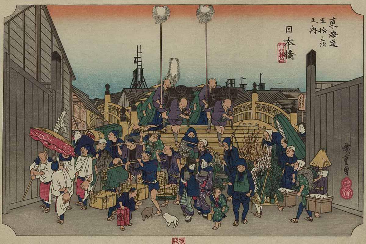 Nihonbashi, Leaving Edo, Utagawa Hiroshige