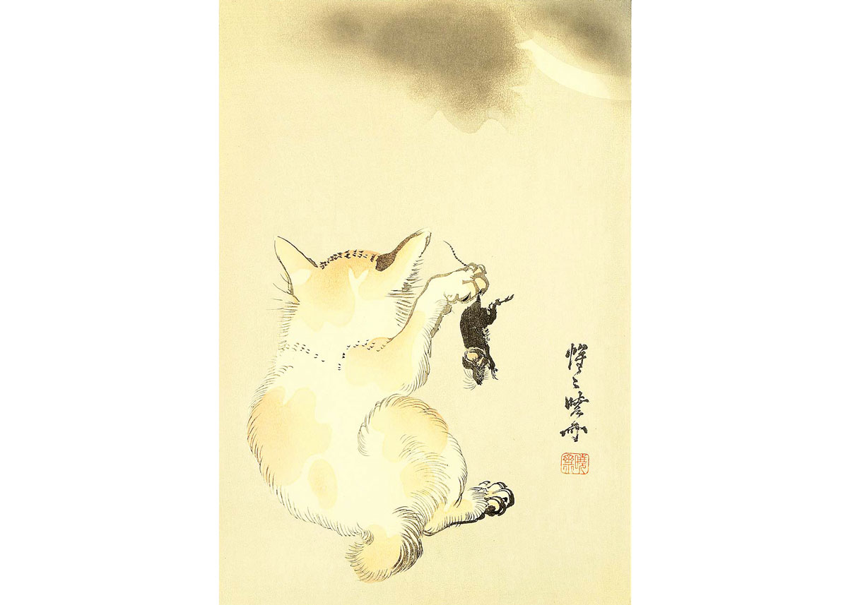 Cat and Mouse, Woodblock Print by Kyosai Kawanabe, 1930s