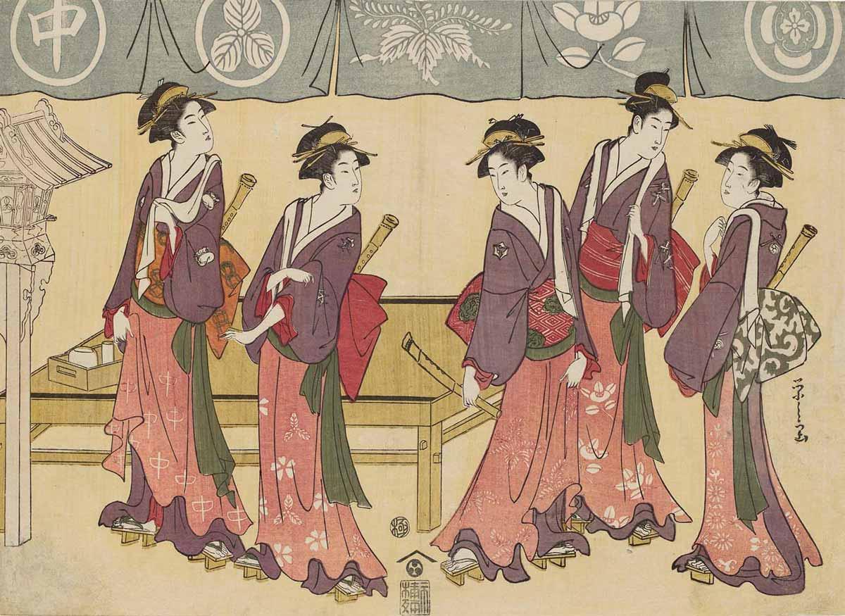 Five Teahouse Waitresses, Woodblock Print by Chobunsai Eishi, 1793