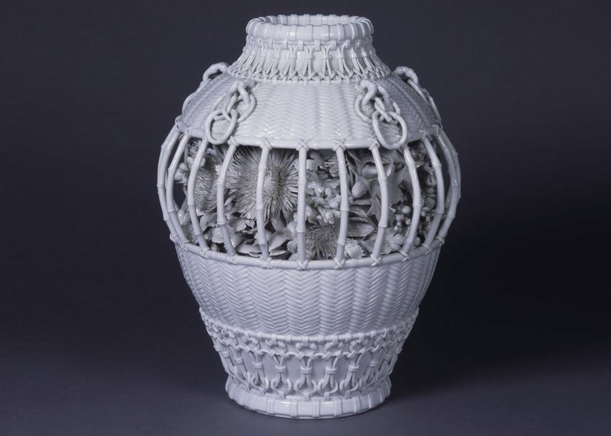 ©  The Museum of Ceramic Art , Hyogo, Izushi-ware Basket-shaped Porcelain