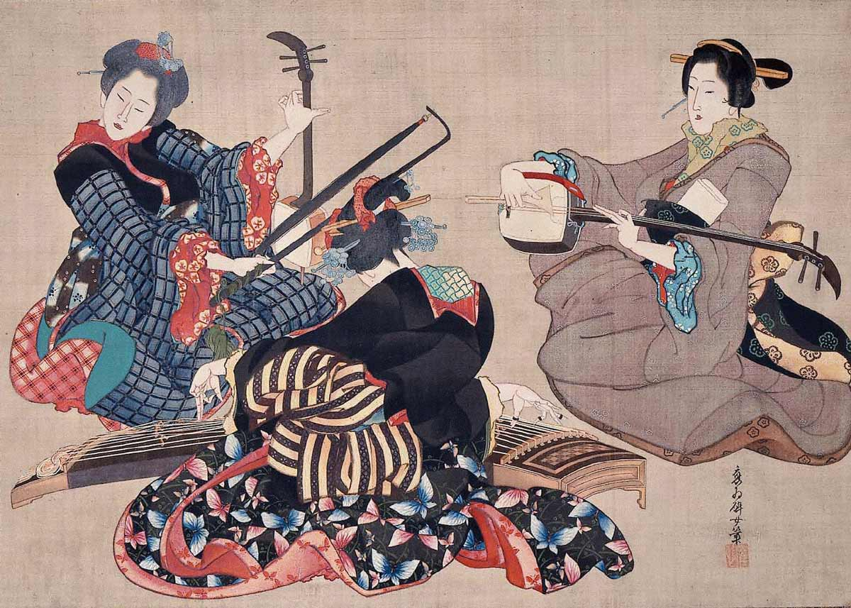 Three Women Playing Musical Instruments, by Katsushika Oi, 1850
