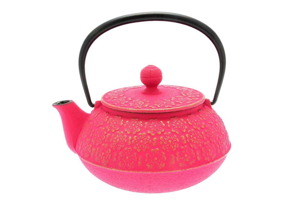 Gold and Pink Tetsubin Teapot by Iwachu