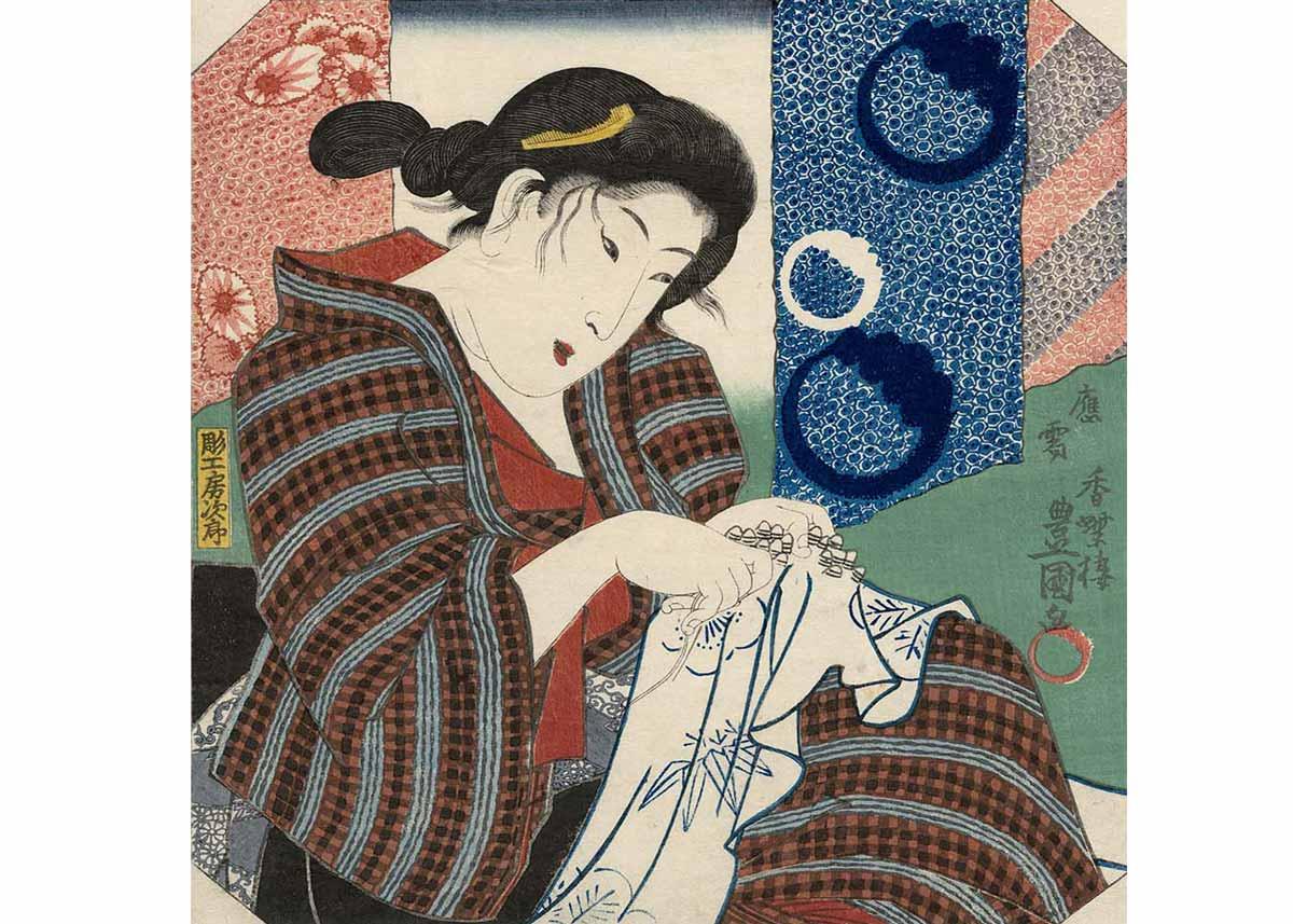 Woman Making Shibori by Utagawa Kunisada, 1845