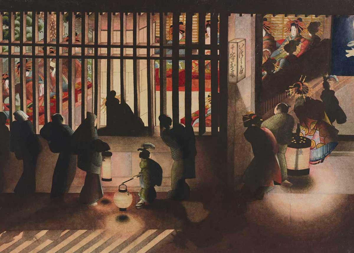 Display Room in Yoshiwara at Night, by Katsushika Oi, 1840s