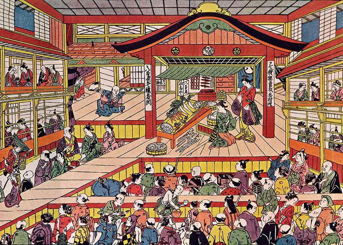 Ichimuraza Kabuki Theater, 1740s, by Masanobu Okumura