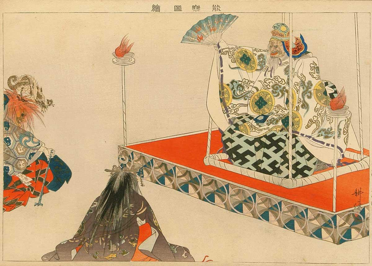 Noh Play by Tsukioka Kogyo, 1900