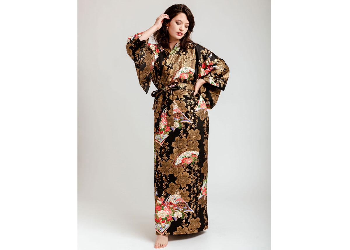 Sakura Cotton-Satin Kimono Robe