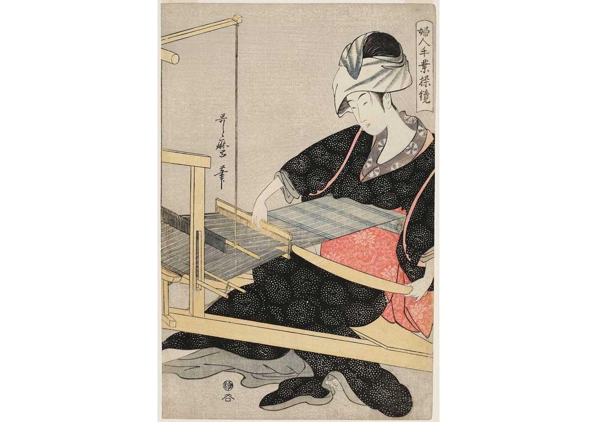 Silk Weaving by Kitagawa Utamaro I, 1797