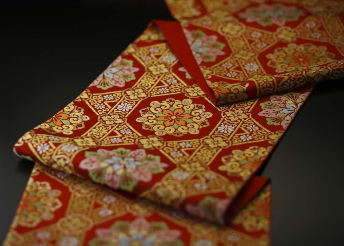 Orange fan pattern Vintage Japanese belt in white silk
