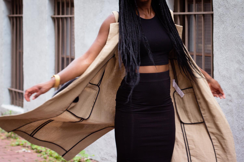 zara overcoat and black two piece-9712
