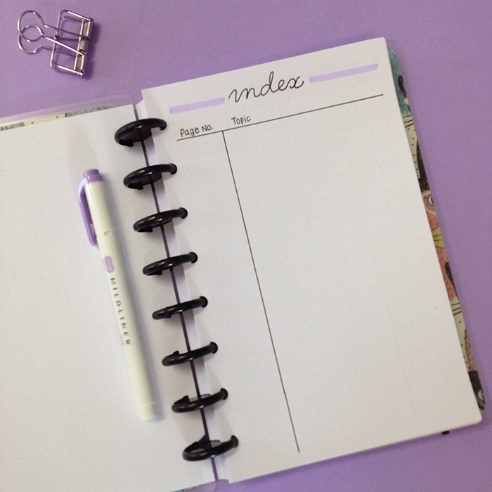 My Blog Bullet Journal Set Up - Created an Index page