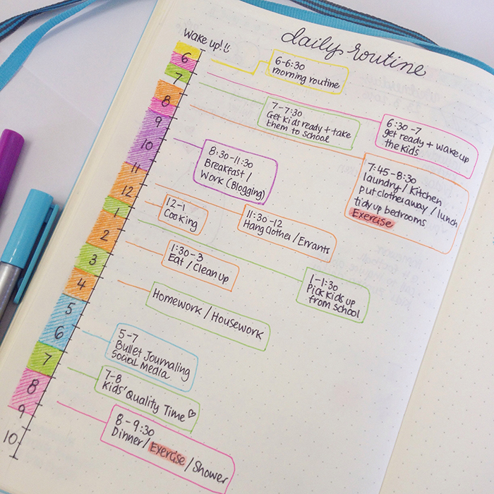 daily routine plan in my bullet journal
