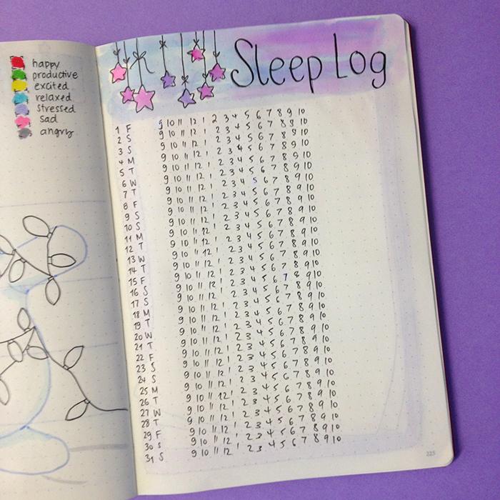 Plan With Me: December 2017 set up in my Bullet Journal - Sleep Log