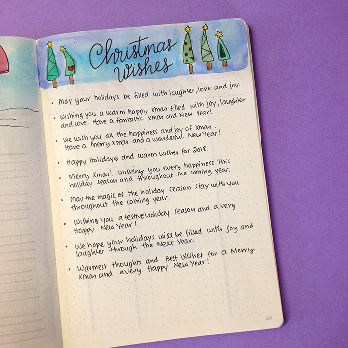 6 Christmas Spreads for your Bullet Journal - Christmas Wishes