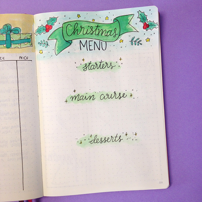 6 Christmas Spreads for your Bullet Journal - Christmas Menu