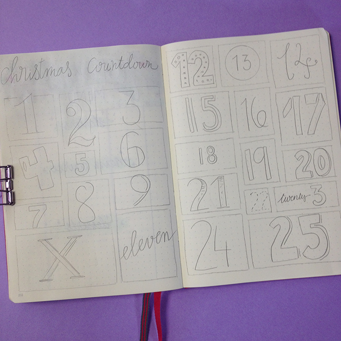 6 Christmas Spreads for your Bullet Journal - Christmas Countdown