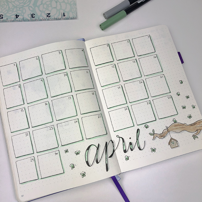 April 2018 Montly Spread Bullet Journal Set Up.jpg