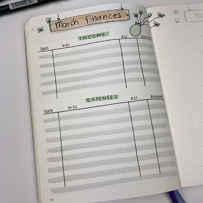 April Finances bullet journal setup.jpg