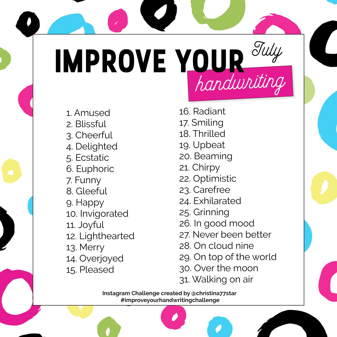 Improve Your Handwriting Instagram Challenge - July