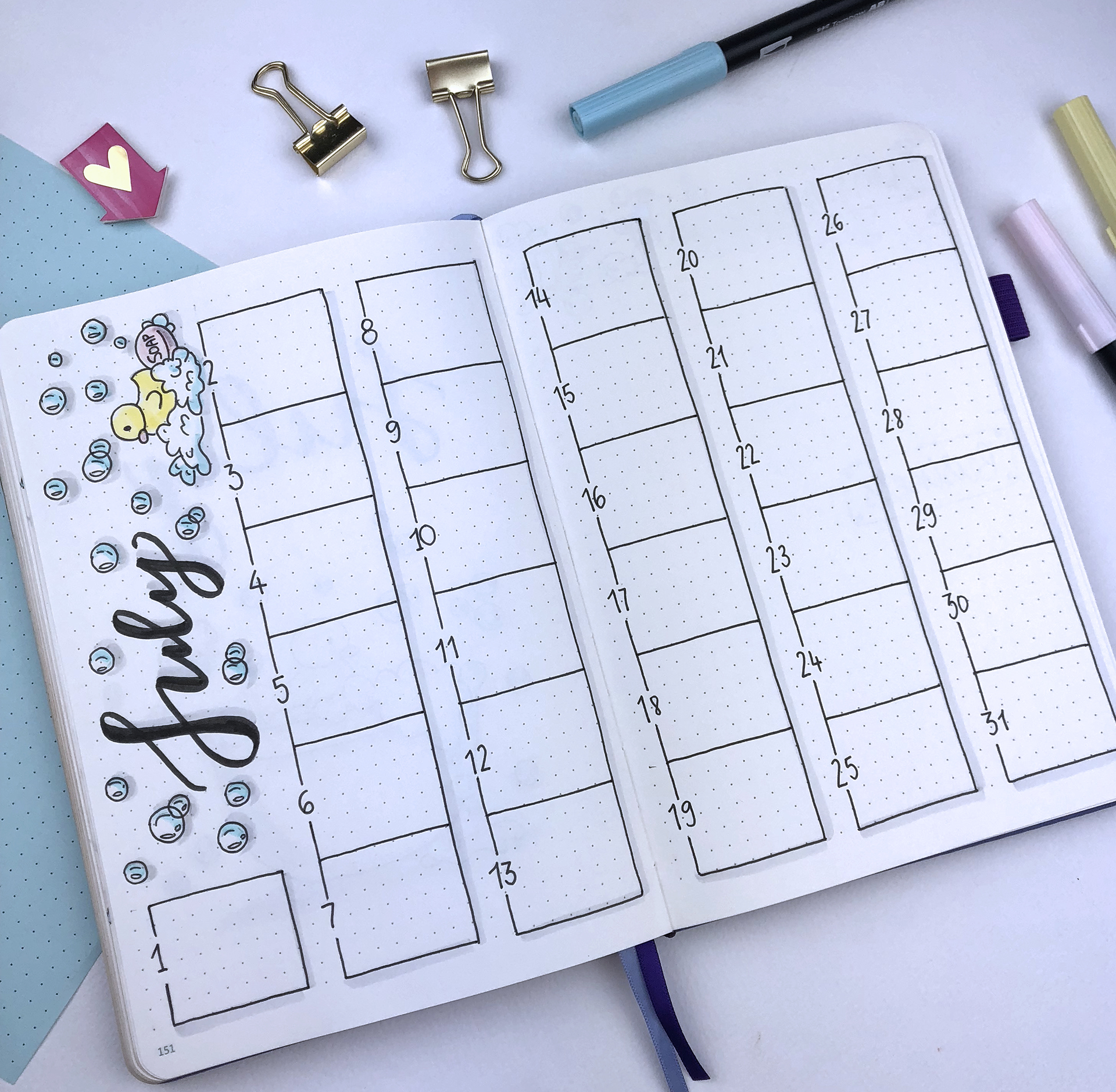 Plan With Me - My July Set Up in my Bullet Journal + Video